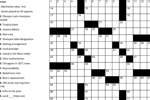 graphic about Printable Easy Crossword Puzzles named Printable Crosswords Puzzle Baron