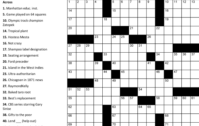 graphic about Printable Sunday Crossword Puzzle identified as Crosswords Portfolio Classes Puzzle Baron